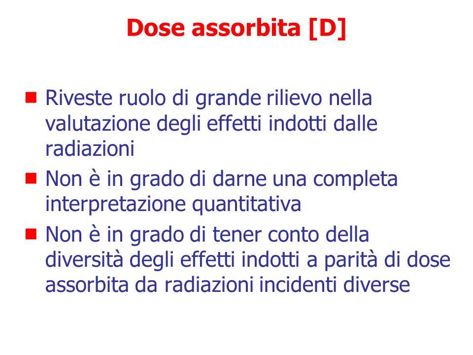 Dose assorbita [D] Riveste ruolo di grande rilievo nella valutazione degli effetti indotti dalle radiazioni.